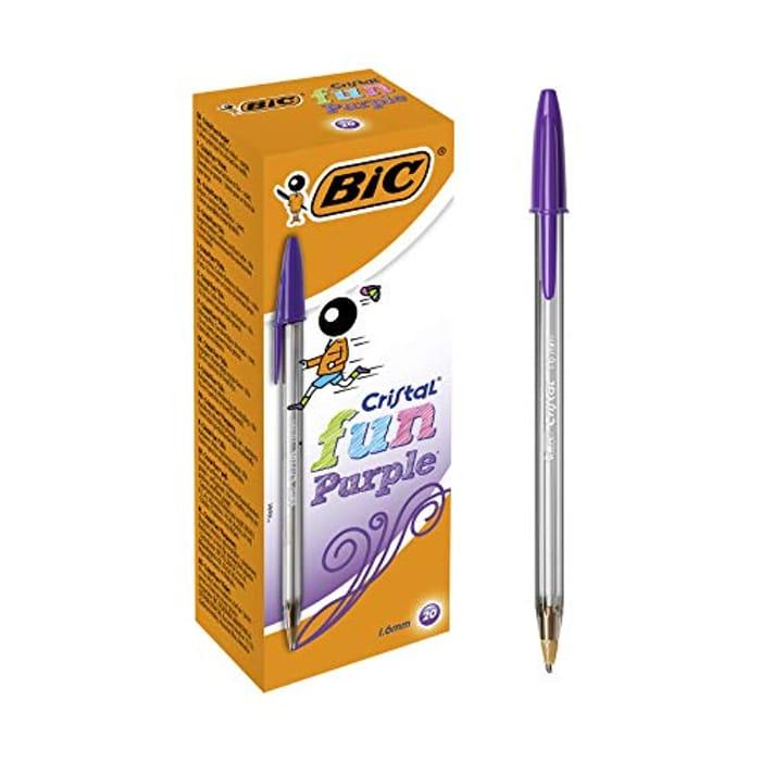 Cheap BIC Cristal Fun Ballpoint Purple Pens, Box of 20 -Save £5.10 (59%)