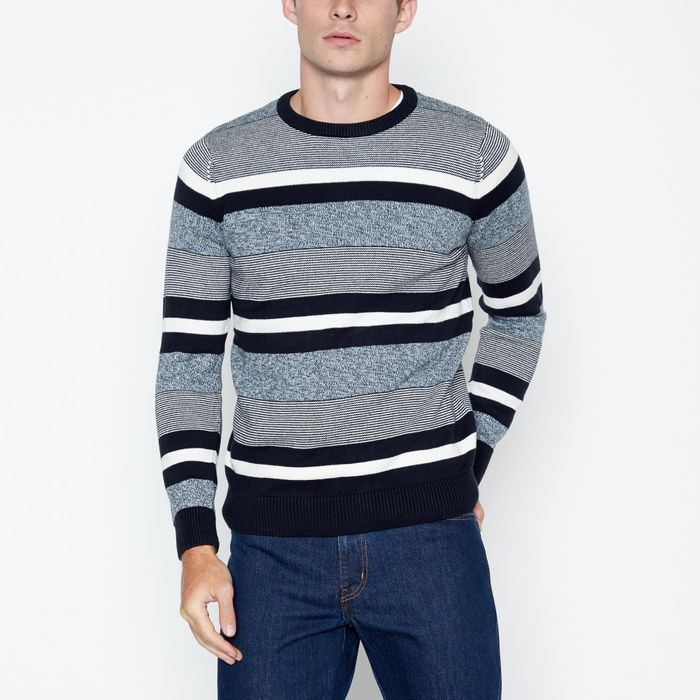 Maine New England - Navy Striped Cotton Jumper