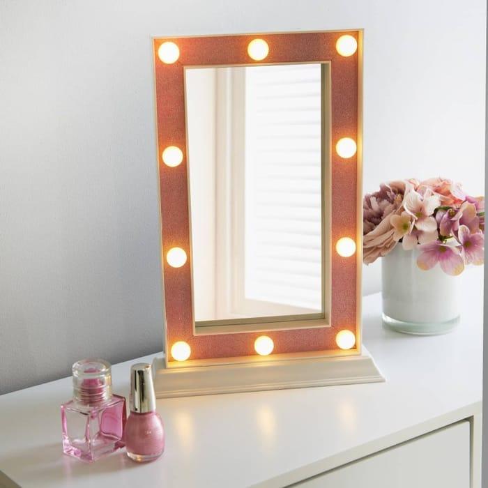 Glitter LED Table Mirror