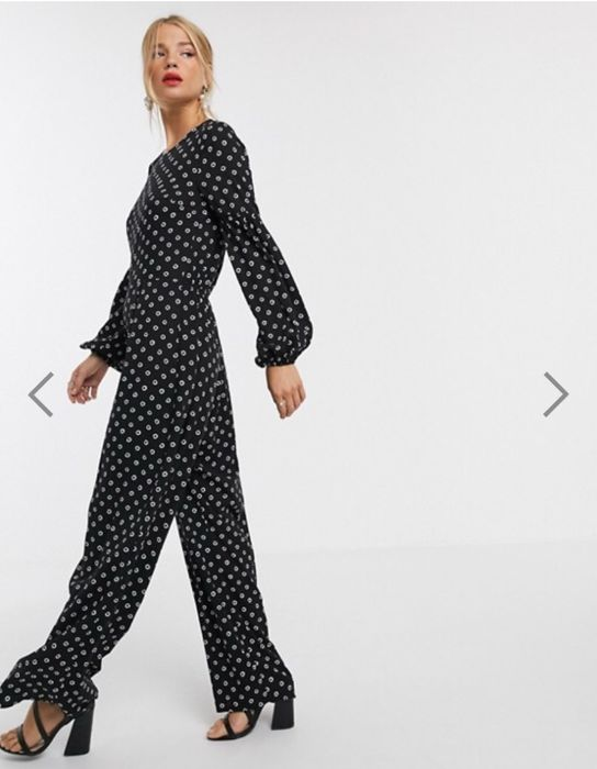 ASOS DESIGN Jumpsuit with Elasticated Sleeve Detail in Spot Print