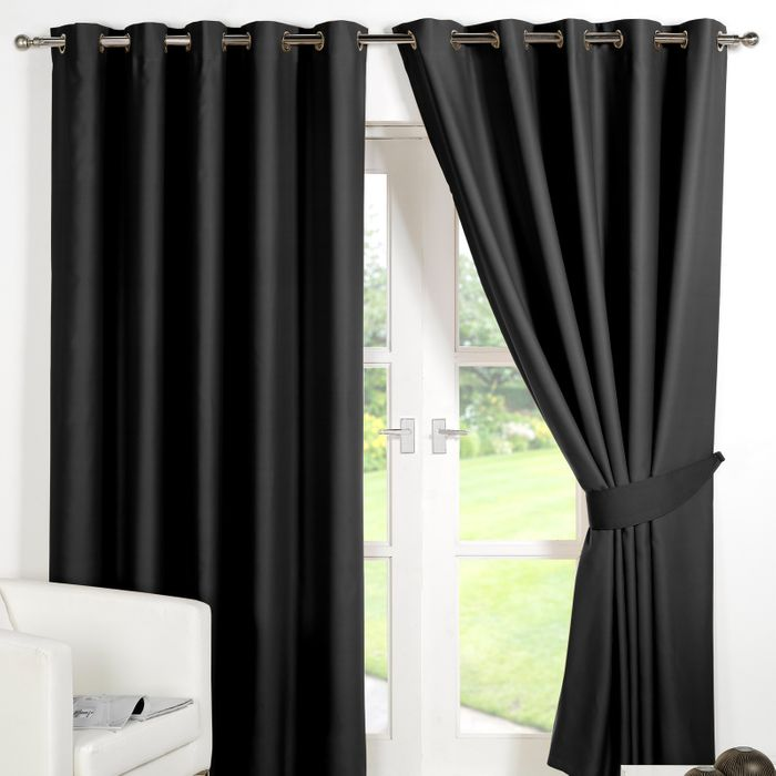 Blackout Eyelet Curtains - Black