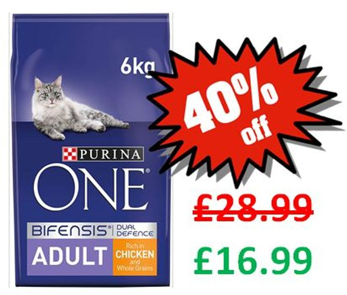 £12 off - Purina ONE Adult Cat Food Chicken & Wholegrains, 6kg