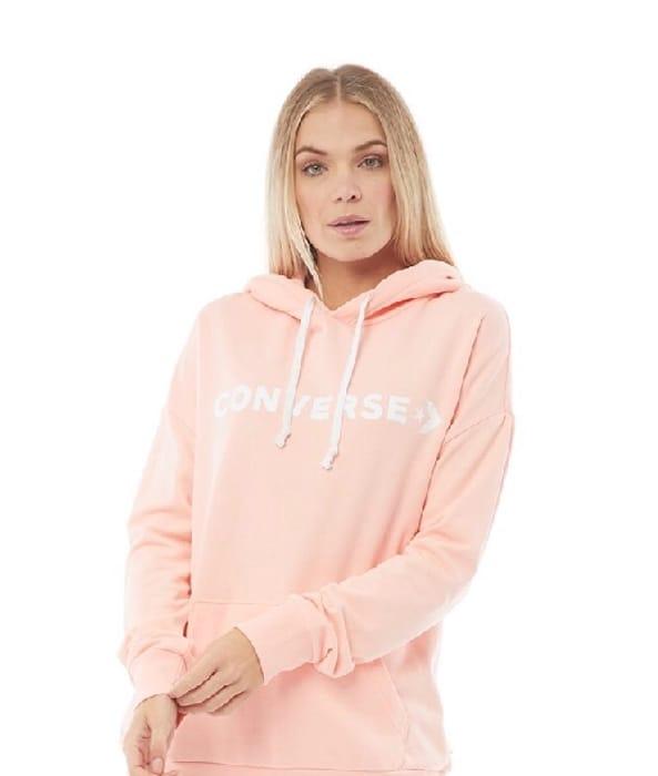 Best Price! Converse Womens Star Chevron Oversized Fleece Hoodie Pink