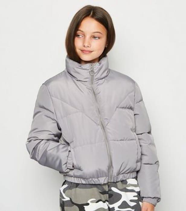 Girls Grey Puffa Jacket - Better Than Half Price