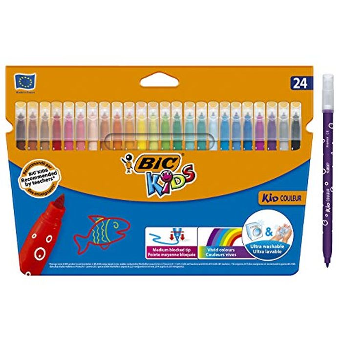 BIC Kids Kid Couleur Felt Tip Colouring Pens Wallet of 24 - Save £1!