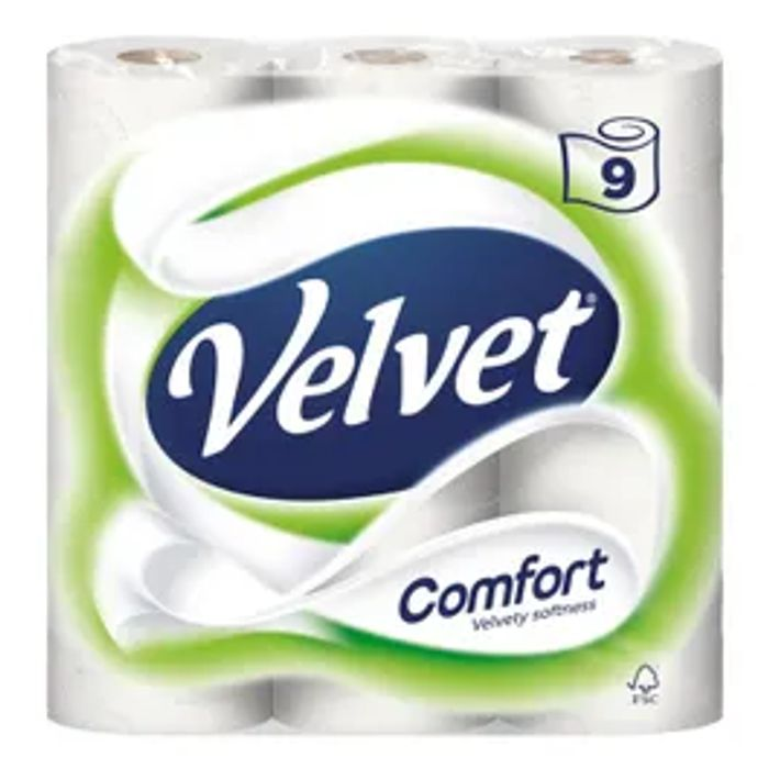 Velvet Triple Toilet Roll 9 PACK *ONLY £1 Today!