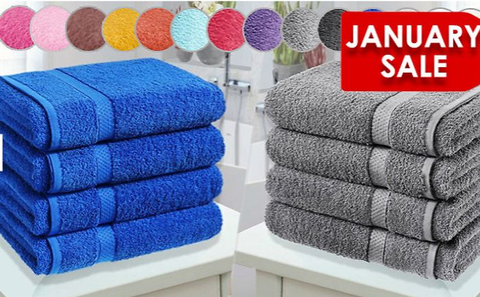 4 X Egyptian Cotton Towels - 14 Colours (+ Extra 10% OFF)
