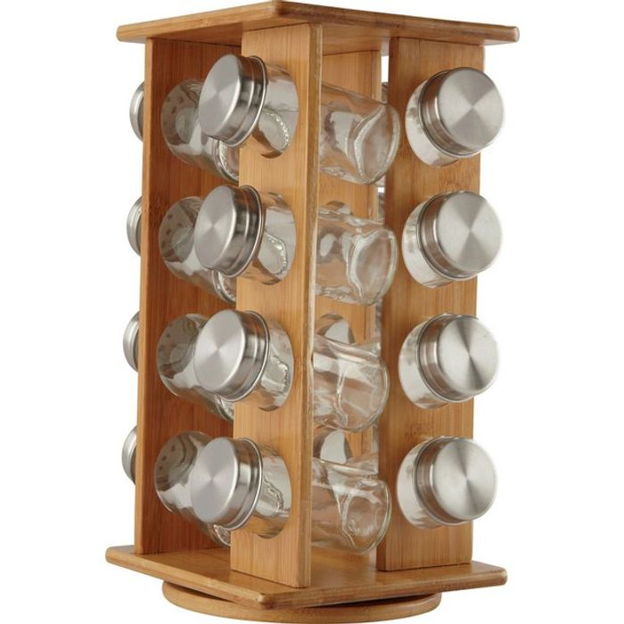 Argos Home Bamboo Revolving Spice Rack with 16 Jars - Save £8!