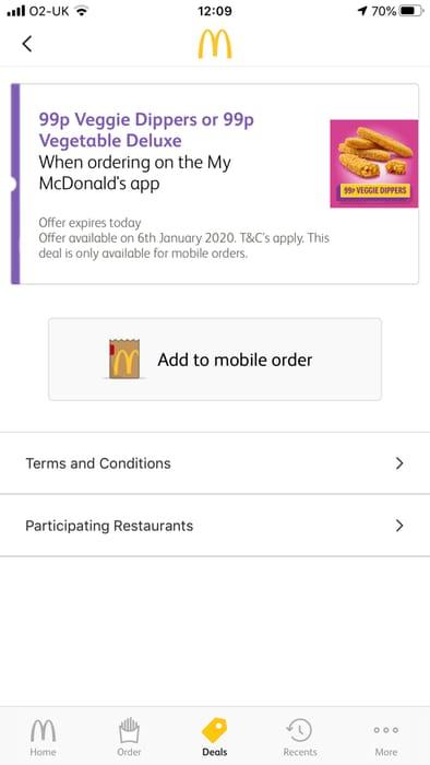 Todays Deal at McDonalds 99p Veggie Deluxe