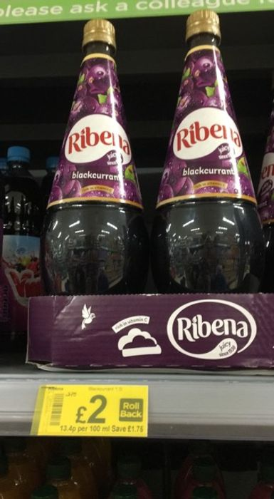 Ribena Blackcurrant Squash / No Added Sugar is Also Available