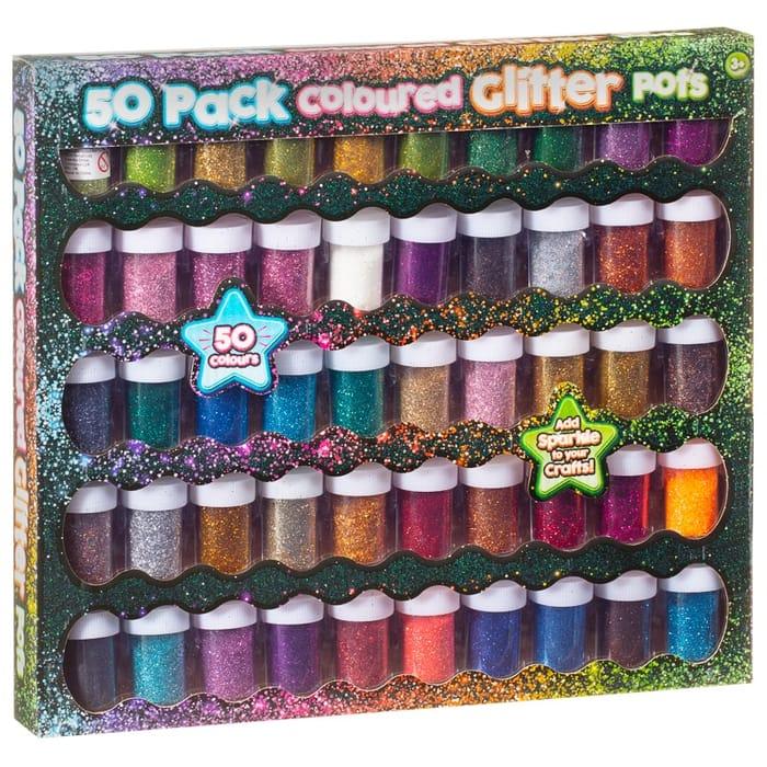 Coloured Glitter Pots 50pk