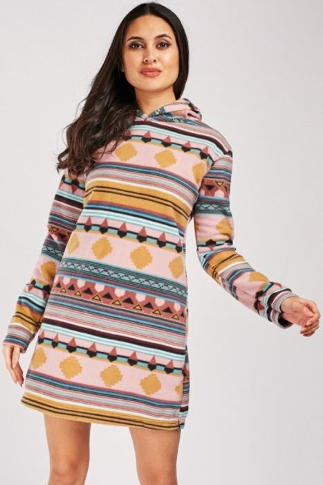 Aztec Pattern Fleece Hooded Dress