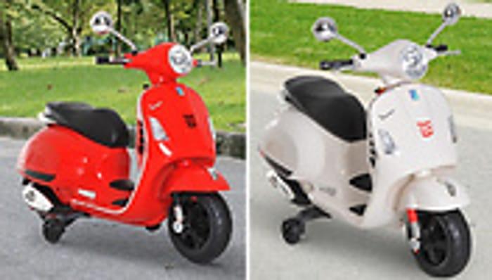 6V Licensed Vespa Kids Ride on Scooter - 2 Colours