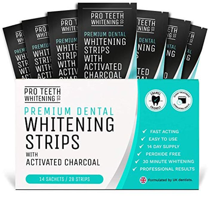 Best Price! Teeth Whitening Strips with Activated Charcoal - 28 Peroxide Free