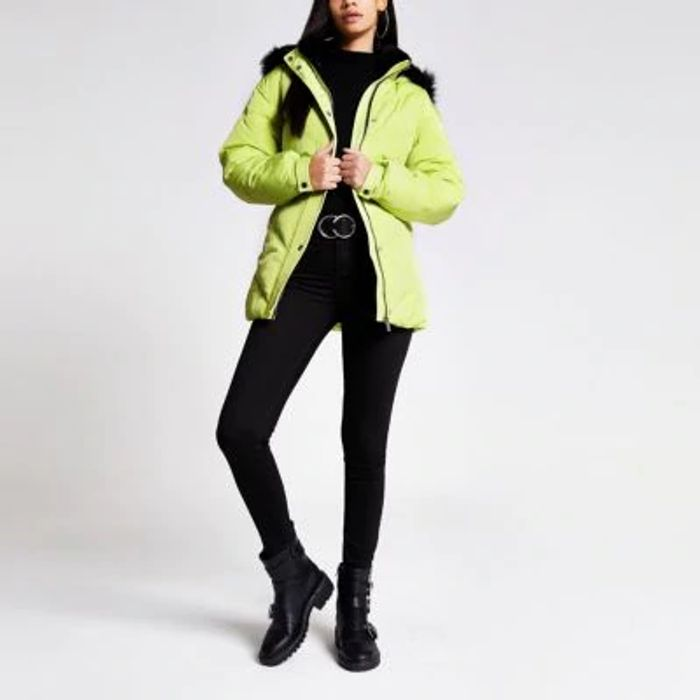 532 times Yellow Faux Fur Hood Belted Puffer Jacket