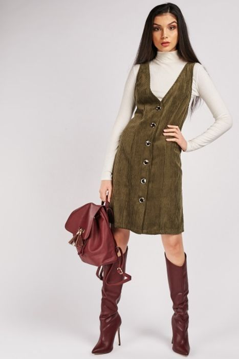 V-Neck Corduroy Pinafore Dress