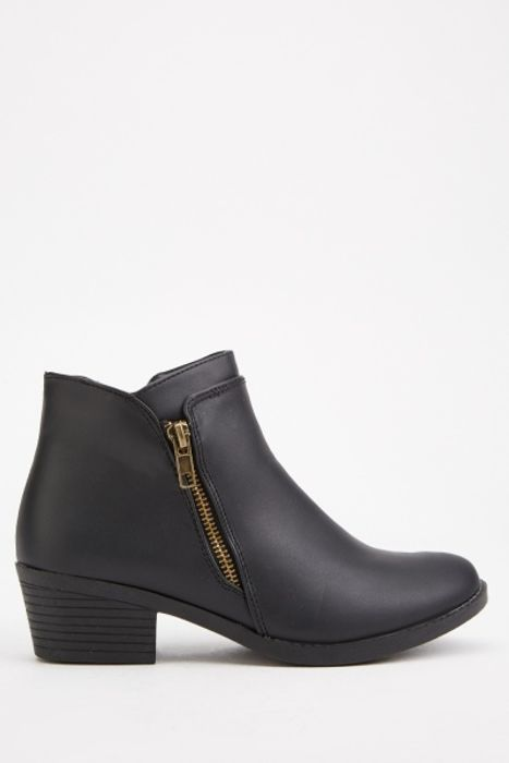 Zipper Side Block Heel Ankle Boots for £5!