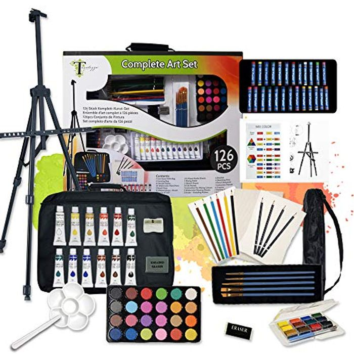 126pcs Deluxe Artist Painting Set with Aluminum Easel