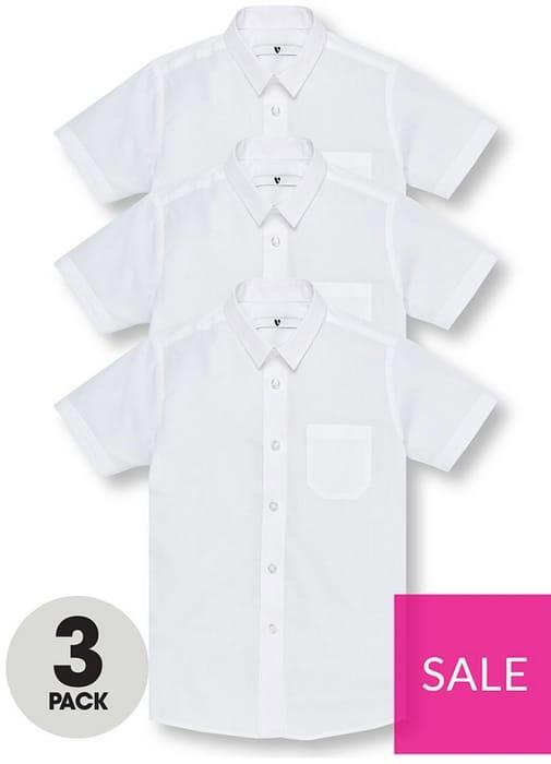 Boys 3 Pack Slim Short Sleeve School Shirts - White