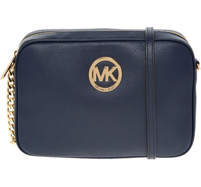 MICHAEL KORS Navy Leather Fulton Crossbody Bag