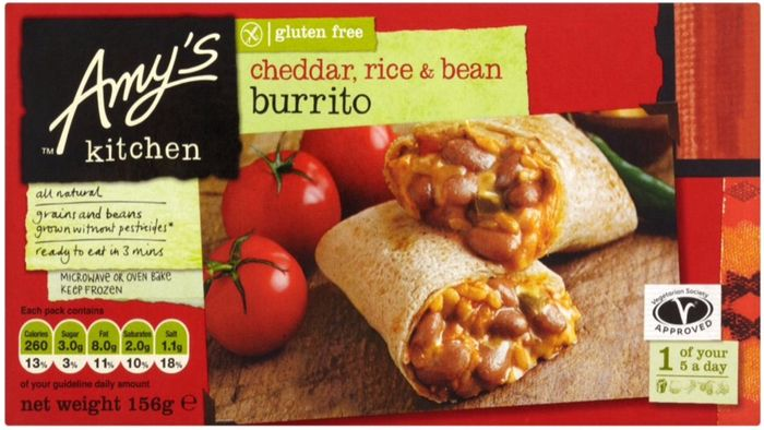 Amy's Kitchen Gluten Free Mexican Burrito Cheddar, Rice & Bean 156g £1.00