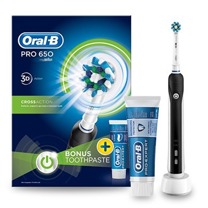 Cheap Oral-B Pro 650 Black Electric Toothbrush and Toothpaste 75ml Only £18