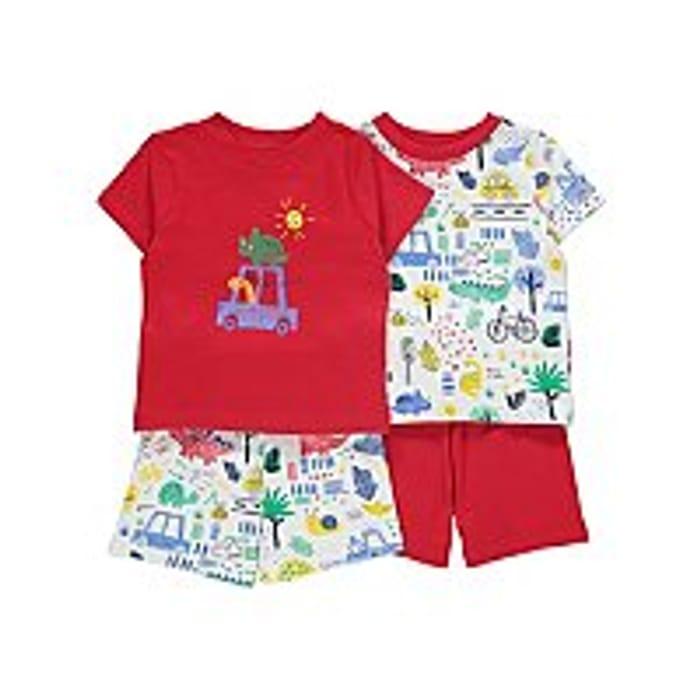 Red Dinosaur Print Short Pyjamas 2 Pack