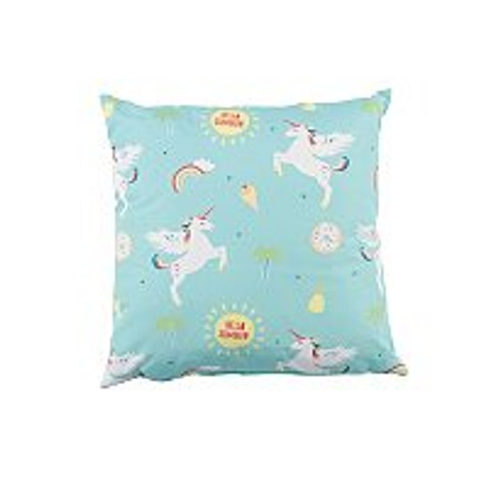 Blue Unicorn Print Outdoor Cushion