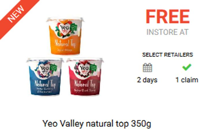Free Yeo Valley Natural Top Yoghurt