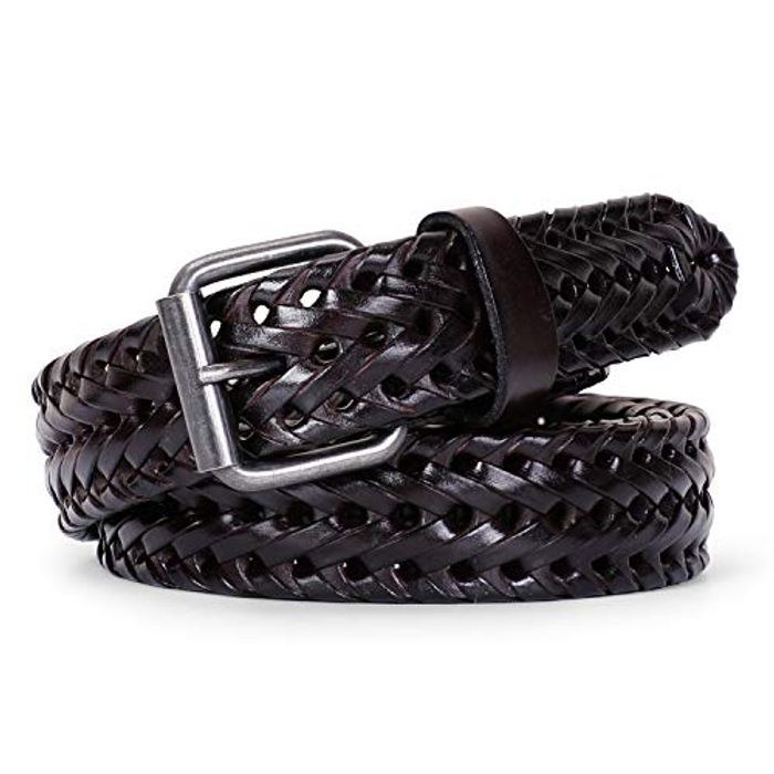 Men's Leather Braided Belt, JasGood Cowhide Leather