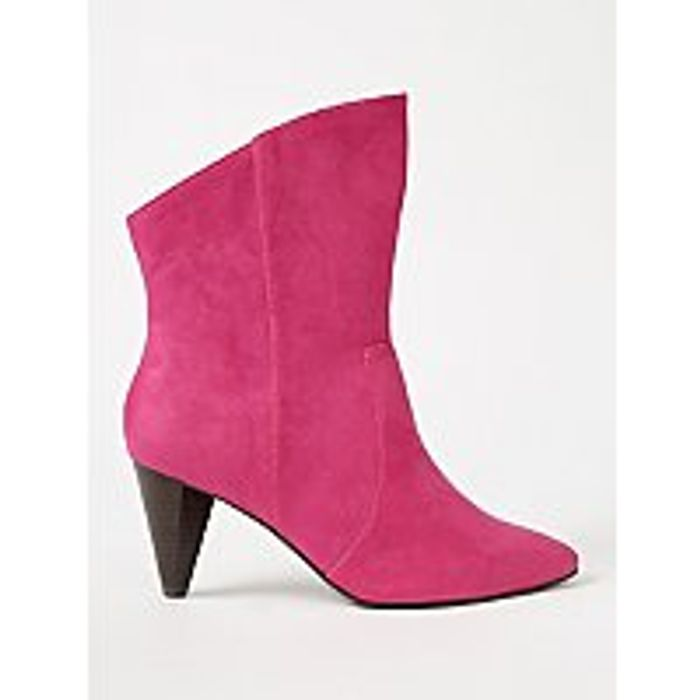 George - Pink Suede Effect Cone Heel Western Ankle Boots