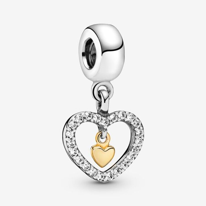 Sparkling Double Heart Dangle Charm