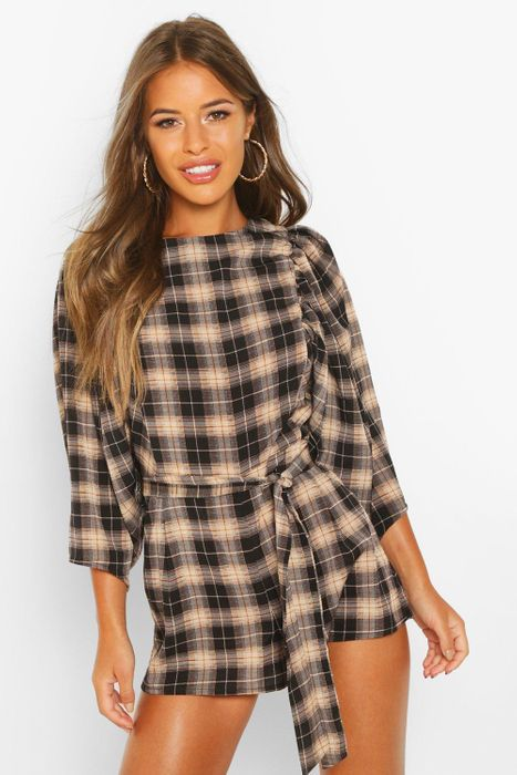 Petite Puff Sleeve Check Playsuit