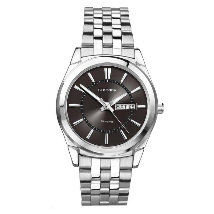 Sekonda Men's Black Dial and Stainless Steel Bracelet Watch