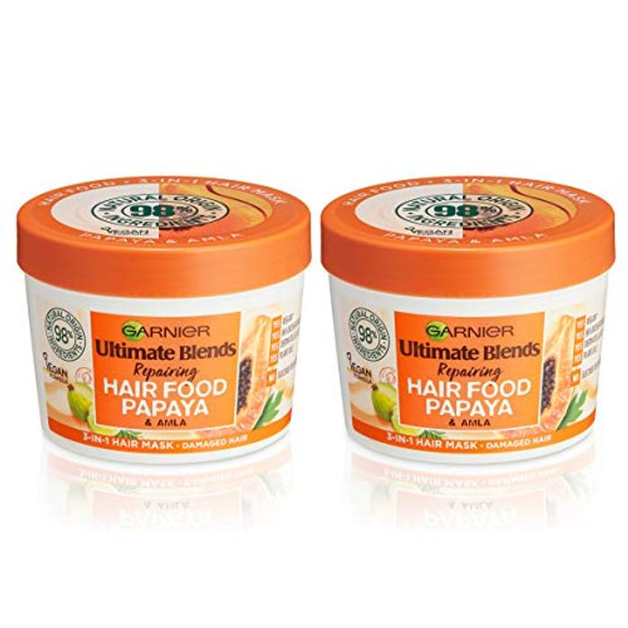 Garnier Ultimate Blends Hair Food Damaged Hair Mask Treatment 390ml Dual Pack