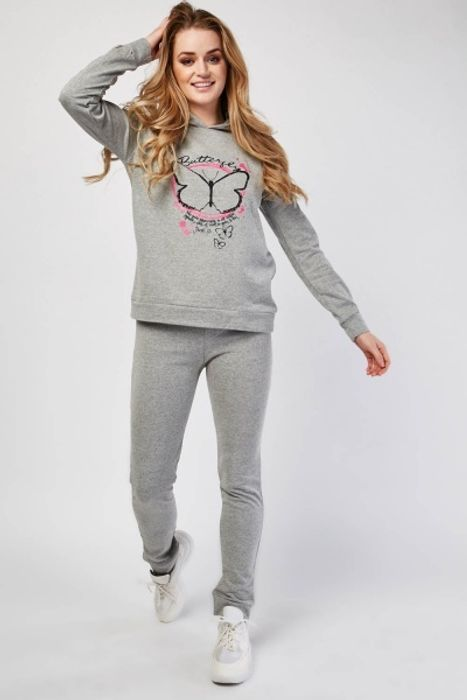 Butterfly Printed Hoodie and Joggers Set £5.00