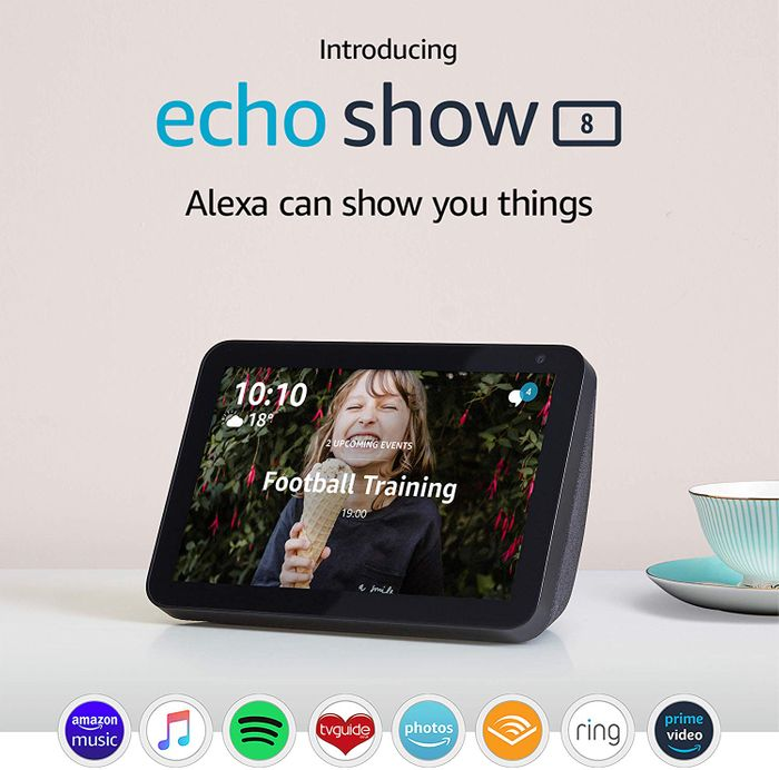 "*HALF PRICE* Echo Show 8 | 8"" HD Smart Display with Alexa, Charcoal Fabric"