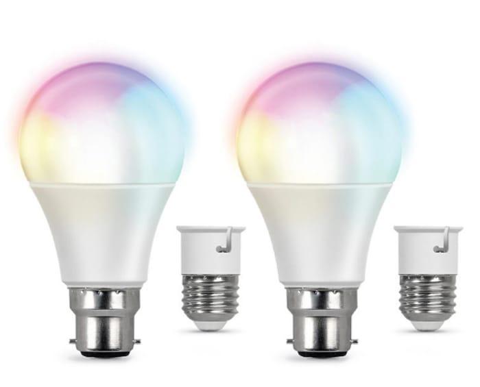 Feit Smart WiFi LED A60 Colour Changing Light Bulb - 2 Pk + 2 E27adapters