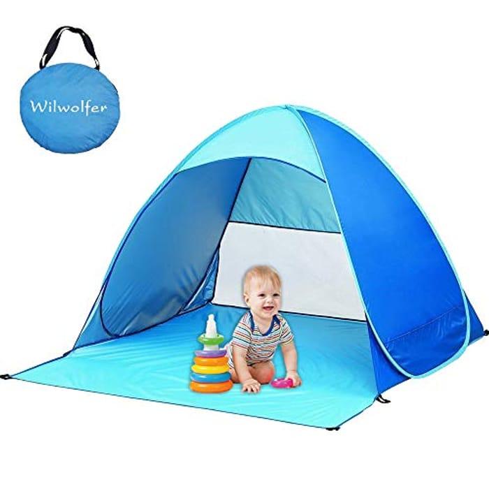 Cheap Wilwolfer Beach Tent Automatic Pop up Beach Sun Shelter, Only £10.59!