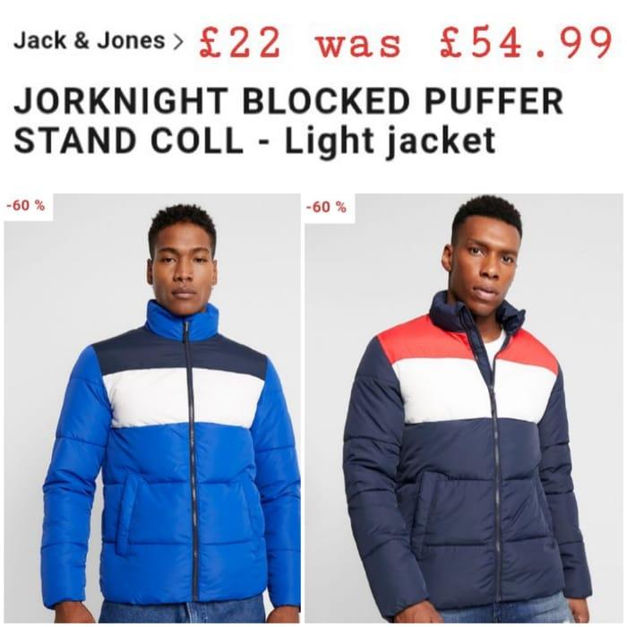 Jack & Jones JORKNIGHT BLOCKED PUFFER STAND COLL - Light Jacket