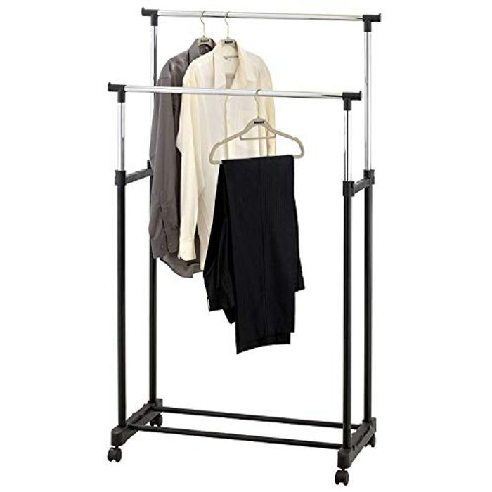 Double Adjustable Height Garment Clothes Hanging Rail - Double