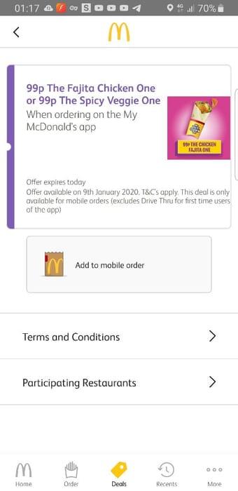 99p Mc Wrap via the App *TODAY ONLY*