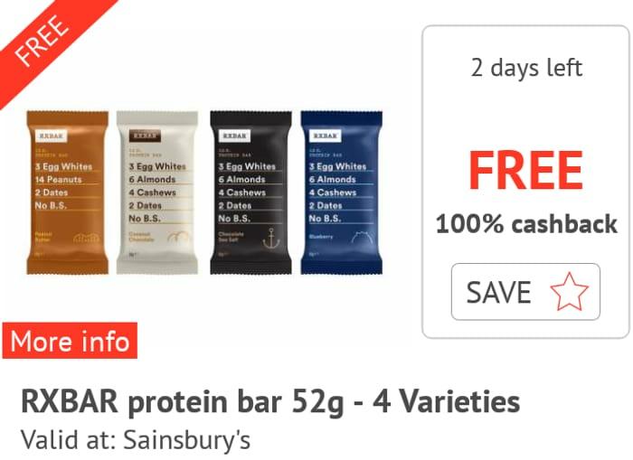 FREE RXBAR Protein Bar - 4 Varieties 52g Sainsbury's