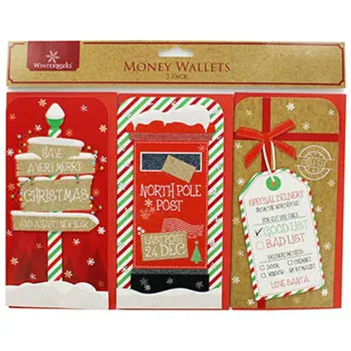 3 Christmas Money Wallets - Assorted BETTER than HALF PRICE