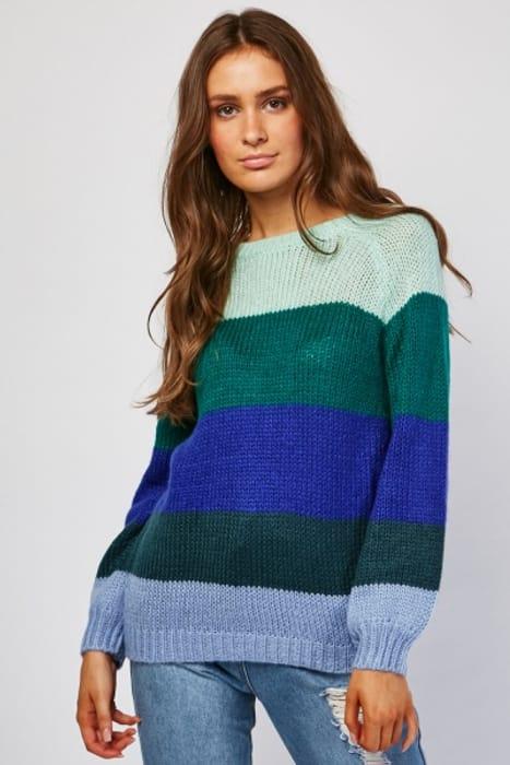 Colour Block Herringbone Knit Jumper