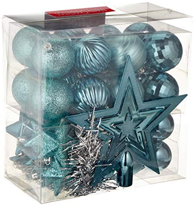 WeRChristmas Baubles/Tree Topper and Garland - 42-Piece, Turquoise Blue