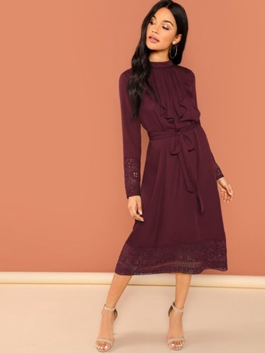 Jabot Collar Guipure Lace Trim Belted Dress