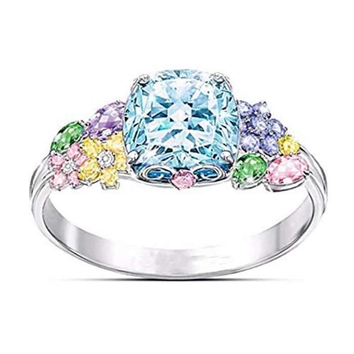 Women Exquisite Artificial Gem Wedding Engagement Ring Jewelry Gift Belt Buckles