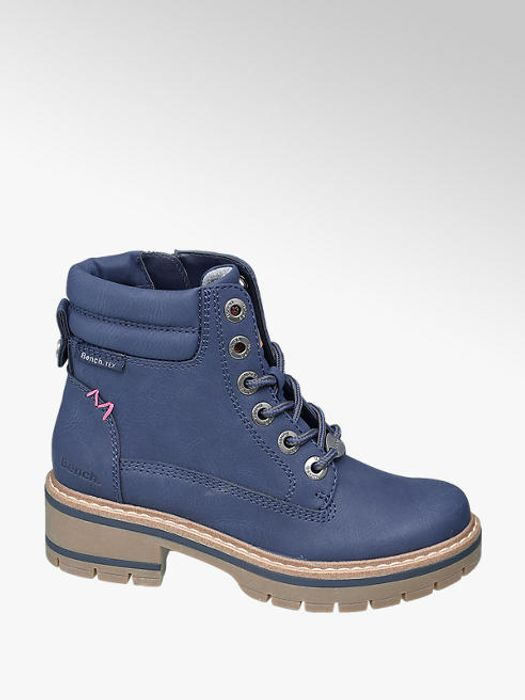Junior Girls Navy Bench Chunky Lace up Boots