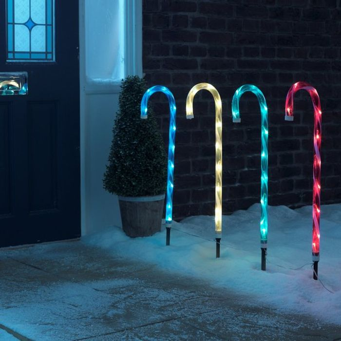 Argos Home Set of 4 Candy Cane Path Finder Lights - Multi